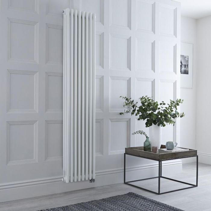 Radiateur électrique vertical style fonte - Triple rang – Blanc – 180 cm x 38 cm - Windsor
