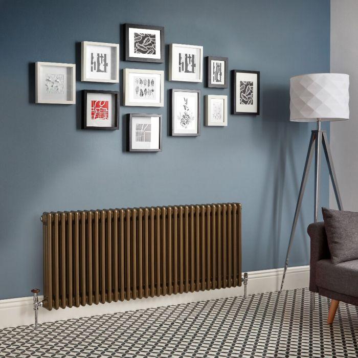Radiateur rétro horizontal à triple rangs – Bronze métallisé – Choix de tailles - Windsor