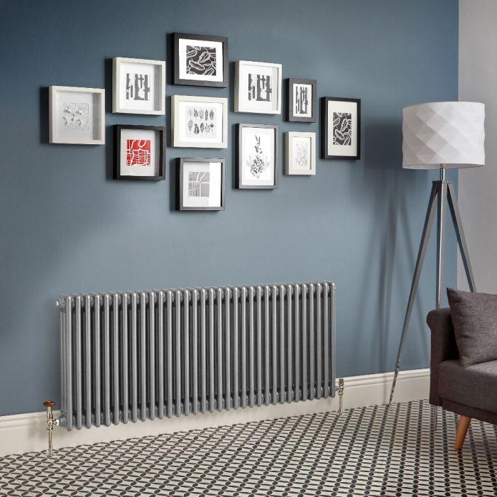 Radiateur rétro horizontal à triple rangs – Argent métallisé – Choix de tailles - Windsor