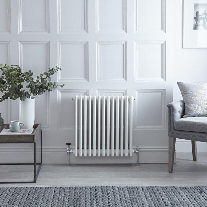 Radiateur Horizontal Style Fonte Blanc Windsor 60cm x 60,5cm x 13,3cm 1234 Watts