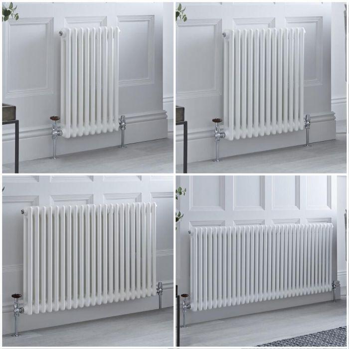 Radiateur style fonte rétro horizontal – Blanc - Double rang – Choix de tailles et de pieds - Windsor