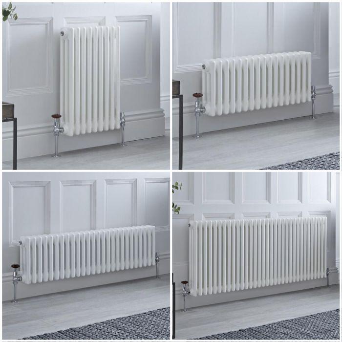 Radiateur style fonte rétro horizontal – Blanc - Triple rang – Choix de tailles et de pieds - Windsor