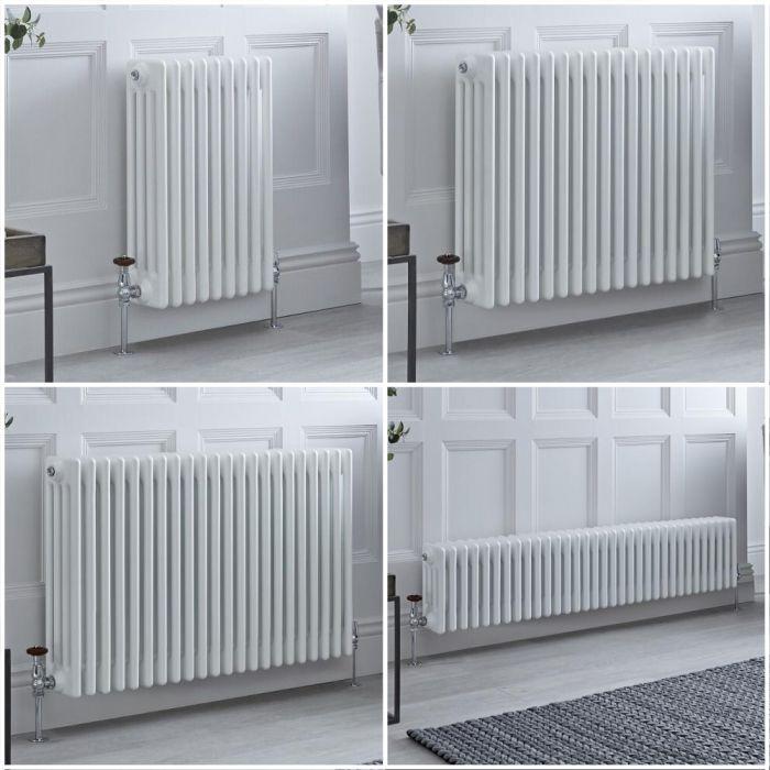 Radiateur style fonte rétro horizontal – Blanc - Quatre rangs – Choix de tailles et de pieds - Windsor