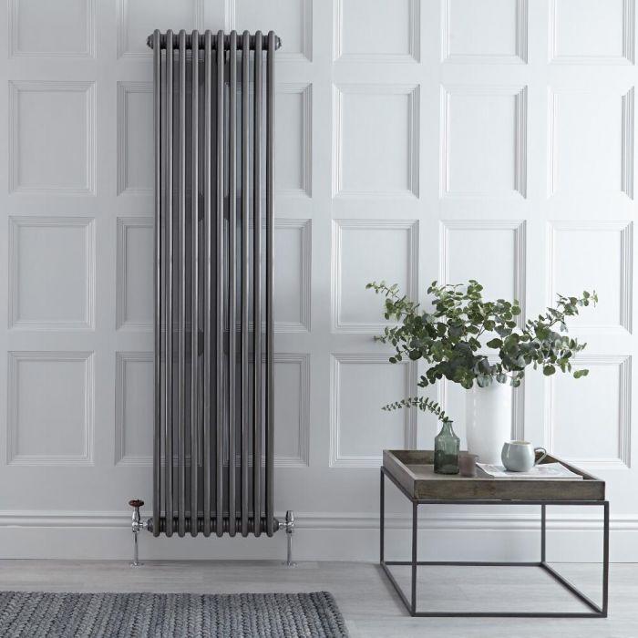 Radiateur vertical style fonte – Acier brut – 180 cm x 47 cm – Triple rangs – Windsor