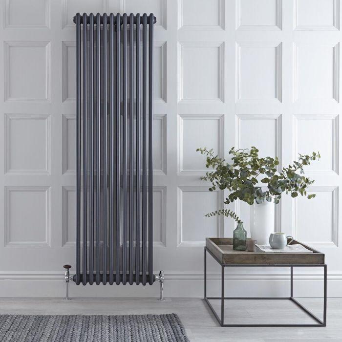 Radiateur vertical style fonte rétro – Anthracite – 180 cm x 56 cm – Triple rangs - Windsor