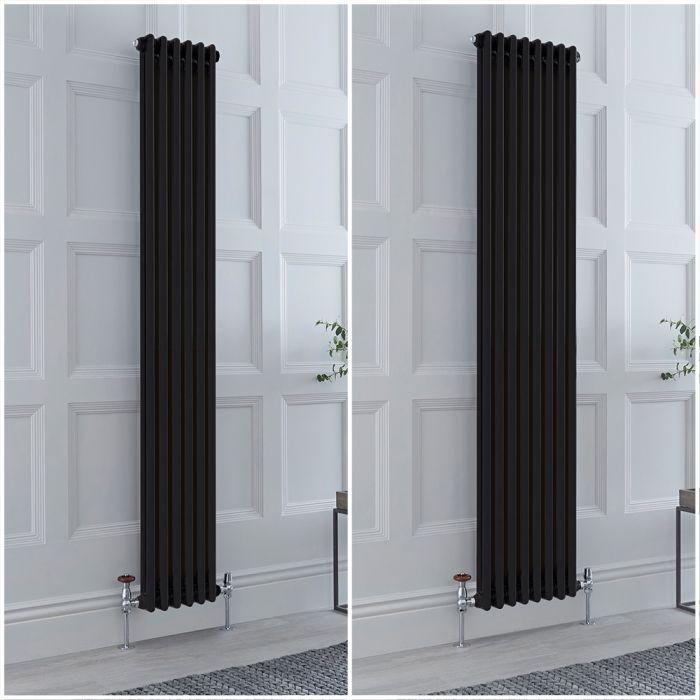 Radiateur style fonte rétro vertical – 180 cm - Noir - Double rang – Choix de tailles et de pieds - Windsor