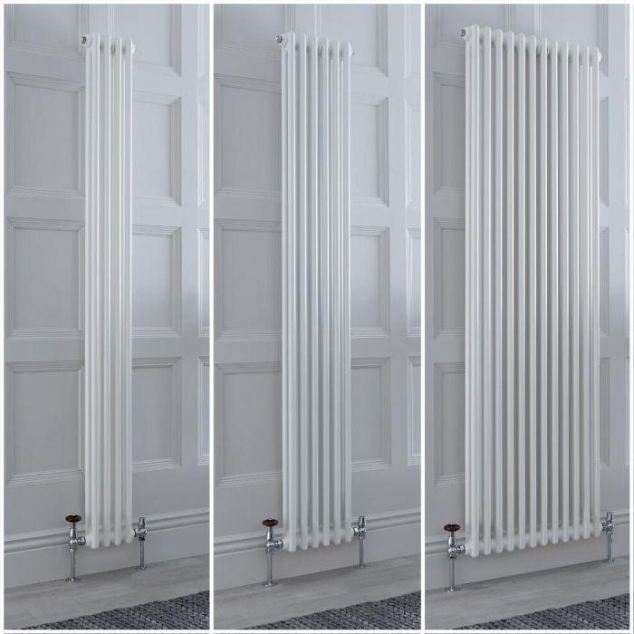 Radiateur style fonte rétro vertical – Blanc - Double rang – Choix de tailles et de pieds - Windsor