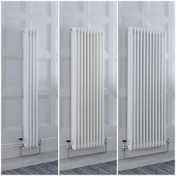 Radiateur style fonte rétro vertical – Blanc - Triple rang – Choix de tailles et de pieds - Windsor