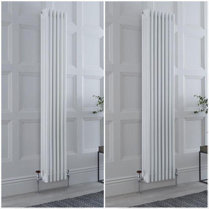 Radiateur rétro vertical - 180 cm – Blanc - Quatre rangs – Choix de tailles et de pieds - Windsor
