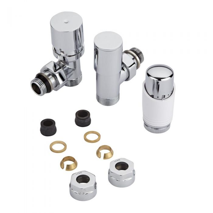 Robinet radiateur thermostatique - Blanc & Chrome - Adaptateurs cuivre 14mm