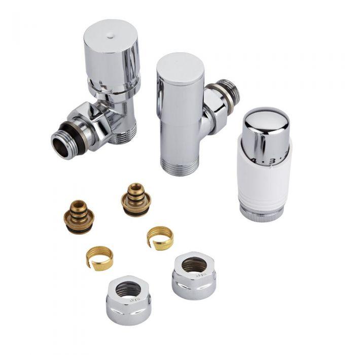 Robinet de radiateur thermostatique - Blanc & chrome - Adaptateurs de 16mm