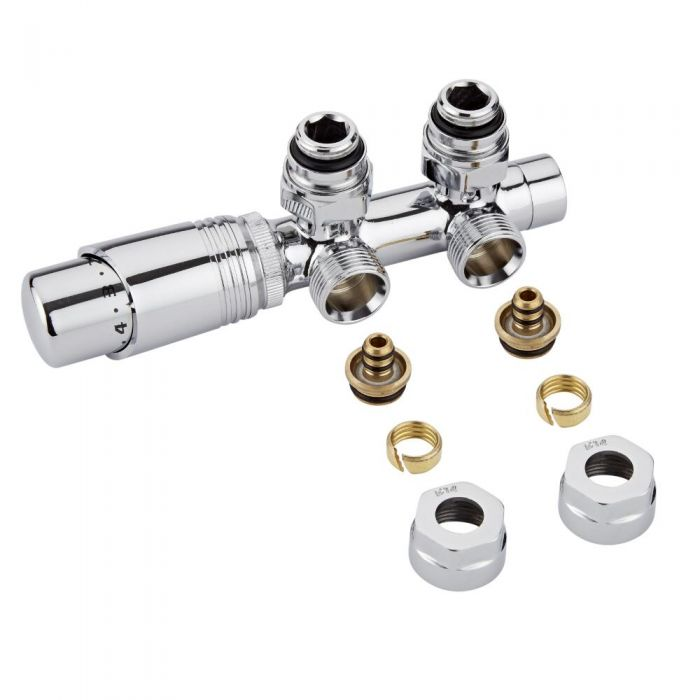 Robinet de radiateur thermostatique d'angle - Chromé - Raccordement central - Adaptateurs multicouche 14mm
