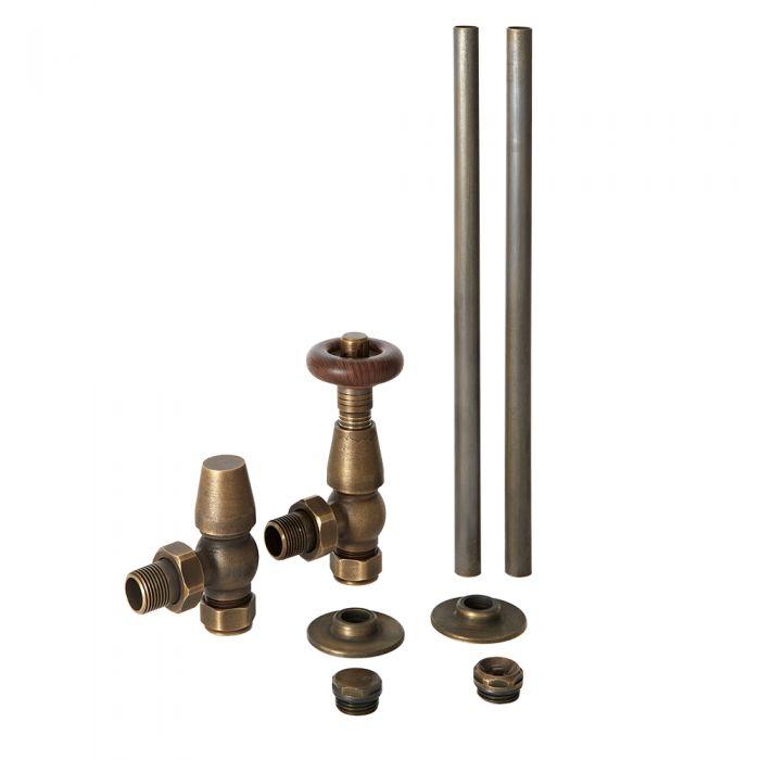 Robinetterie de radiateur thermostatique rétro d'angle et tuyauterie en bronze patiné – Oxford