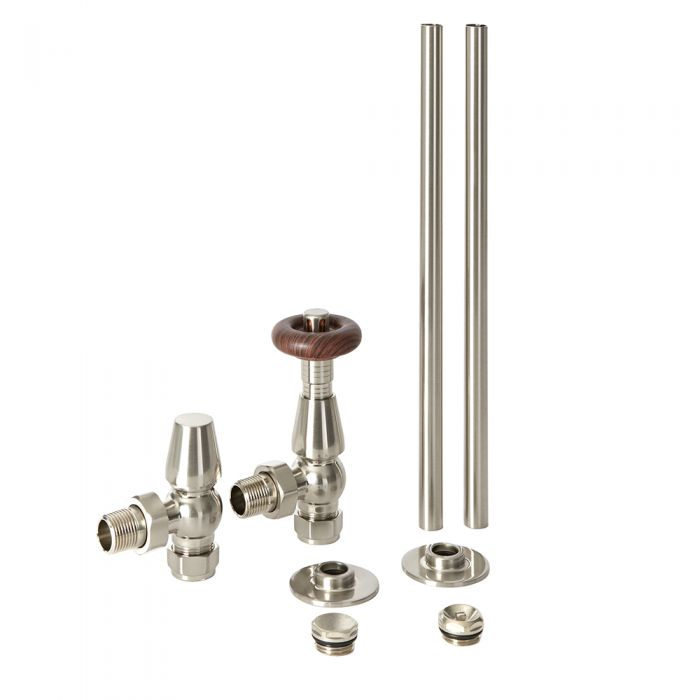 Robinetterie de radiateur thermostatique rétro d'angle et tuyauterie - Satiné - Oxford