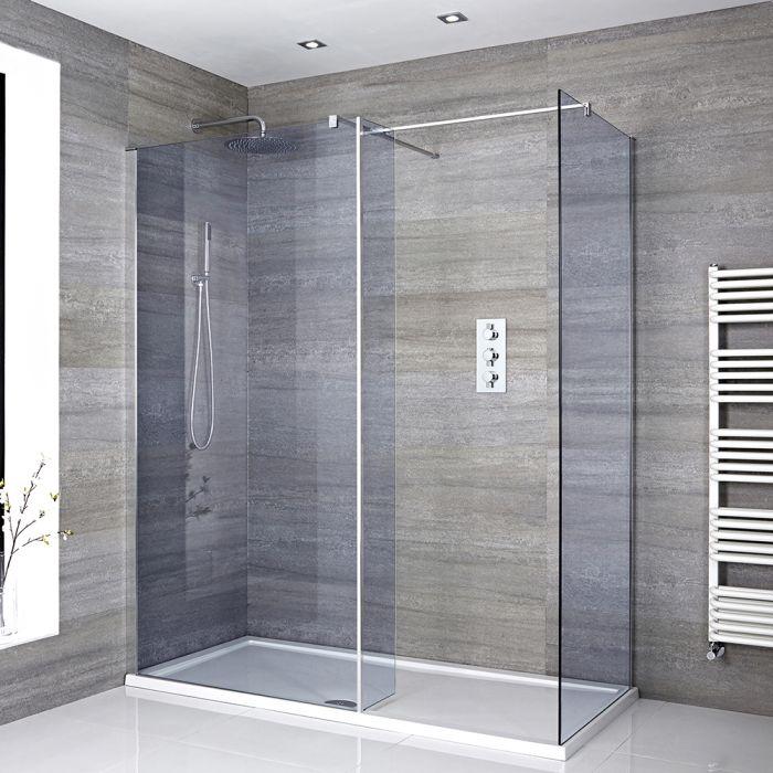 Douche italienne d'angle verre fumé – Receveur de douche – Paroi de retour pivotante en option – Choix de tailles – Portland-Luna