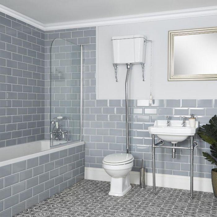 WC rétro avec réservoir haut et lavabo sur pieds - Richmond