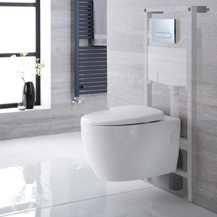 Pack WC suspendu moderne – Sans bride – Bâti-support haut – Blanc - Choix de plaque de déclenchement - Kenton