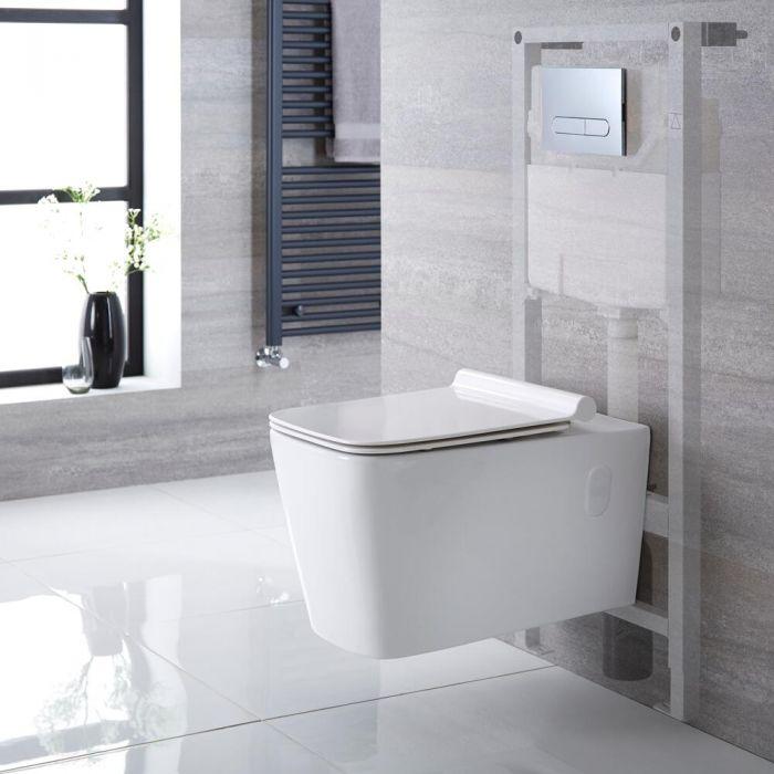Pack WC suspendu moderne – Bâti-support haut – Blanc – Choix de plaque de déclenchement - Sandford