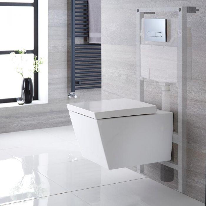 Pack WC suspendu - Bâti-support haut – Blanc – Choix de plaque de déclenchement - Halwell