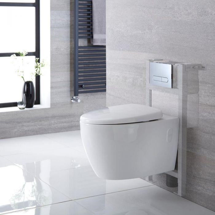 Pack WC suspendu moderne – Sans bride – Bâti-support – Blanc - Choix de plaque de déclenchement - Kenton