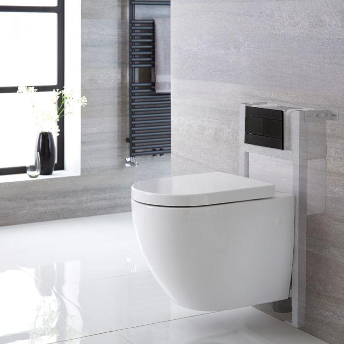 Pack WC suspendu sans bride - Bâti-support 82x40x15/20cm & Plaque de Déclenchement au Choix - Ashbury