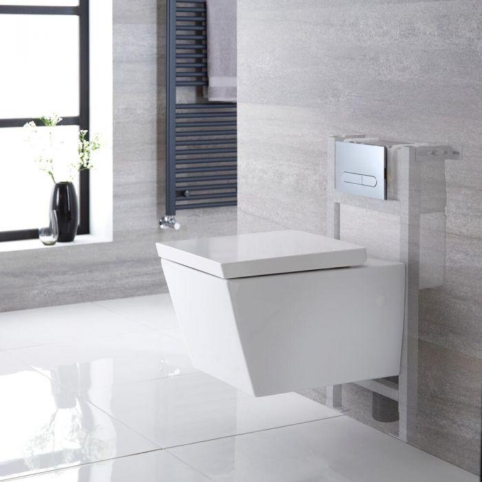 Pack WC suspendu moderne – Bâti-support – Blanc - Choix de plaque de déclenchement - Halwell