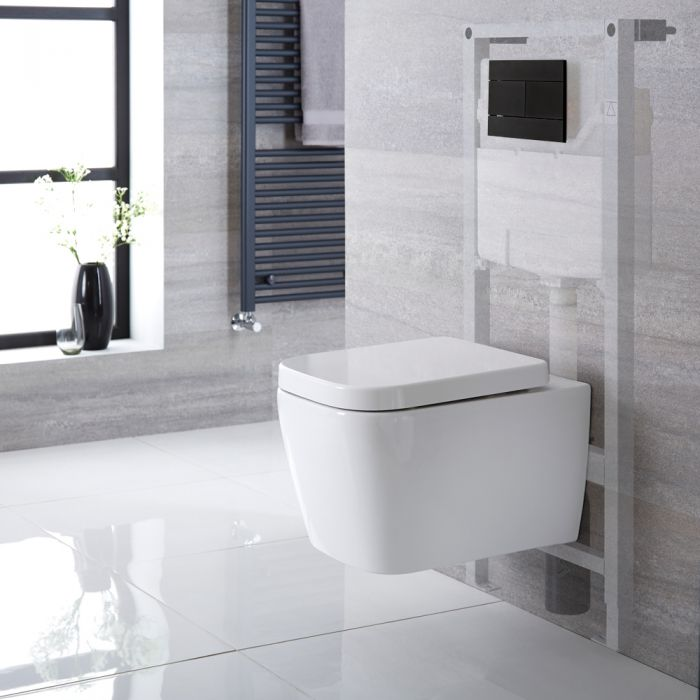 Pack WC suspendu moderne – Bâti-support haut  – Blanc - Choix de plaque de déclenchement - Milton