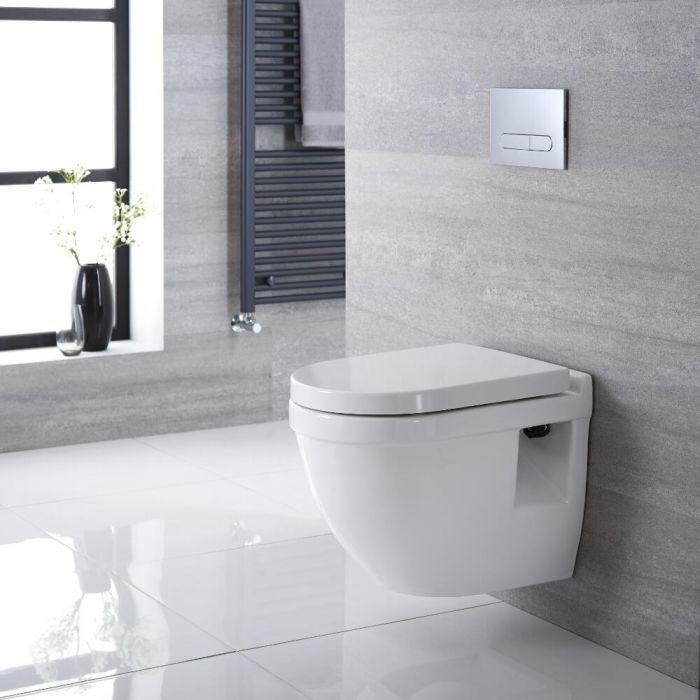 Pack WC suspendu moderne – Bâti-support haut – Blanc - Choix de plaque de déclenchement - Belstone