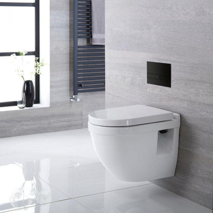 WC suspendu moderne avec bâti-support – Blanc – Choix de plaque de déclenchement - Belstone