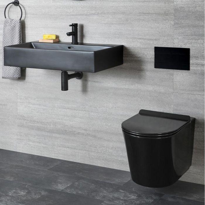Ensemble WC et lavabo suspendus – Noir - Nox