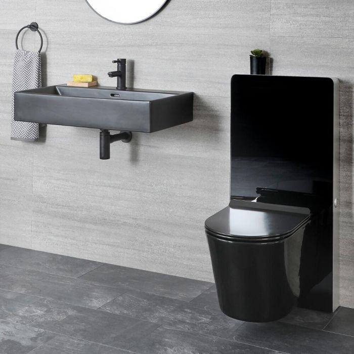 Ensemble lavabo et WC avec meuble suspendus – Noir - Nox