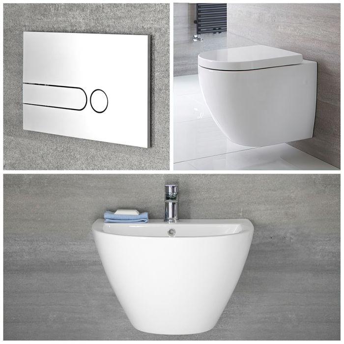 Ensemble lavabo suspendu et pack WC sans bride suspendu - Ashbury
