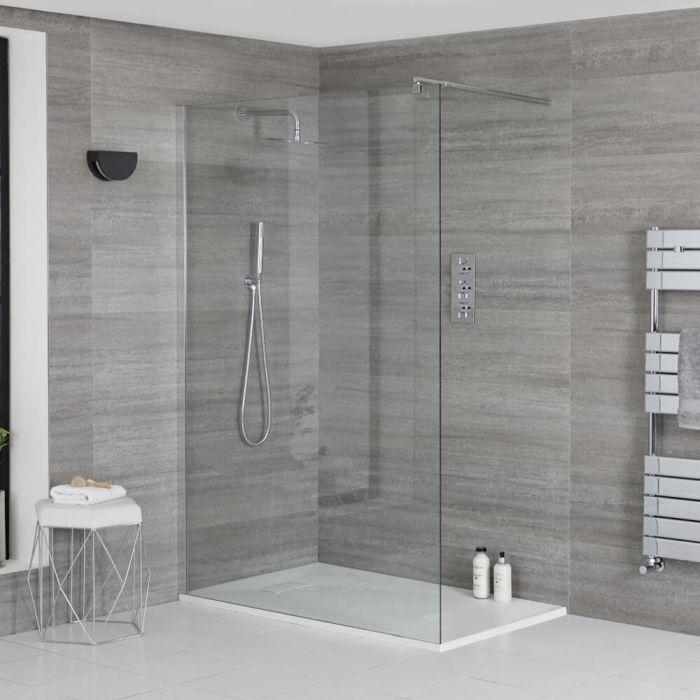 Douche italienne d'angle avec receveur de douche à effet texturé – Multiples tailles disponibles – Portland