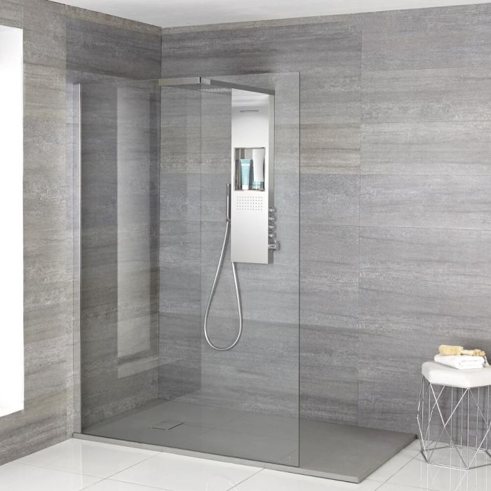 Douche italienne  – Receveur de douche gris à effet texturé & colonne de douche thermostatique  – Multiples tailles disponibles - Iko