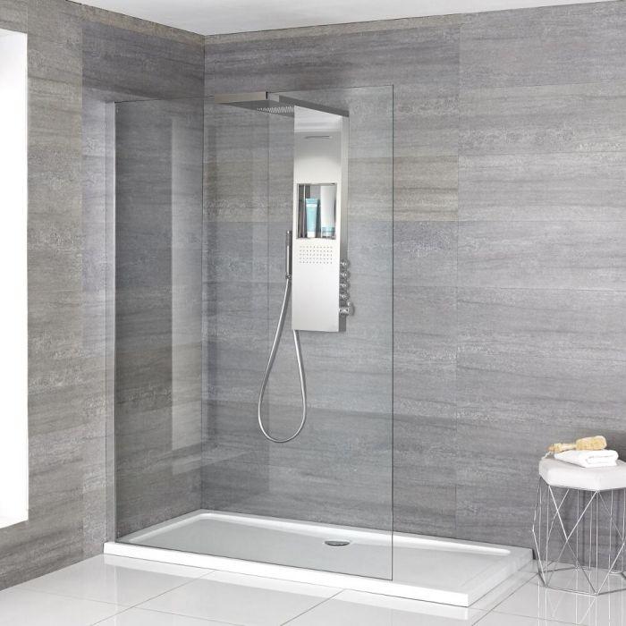 Douche italienne – Receveur de douche à profil fin & Colonne de douche thermostatique – Multiples tailles disponibles - Iko