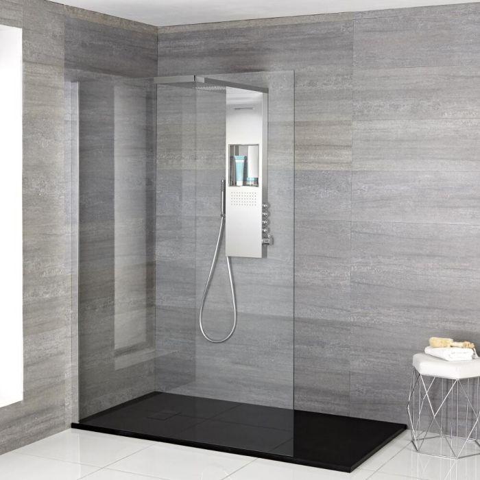 Douche italienne - Receveur de douche & Colonne de douche thermostatique – Multiples tailles disponibles - Iko