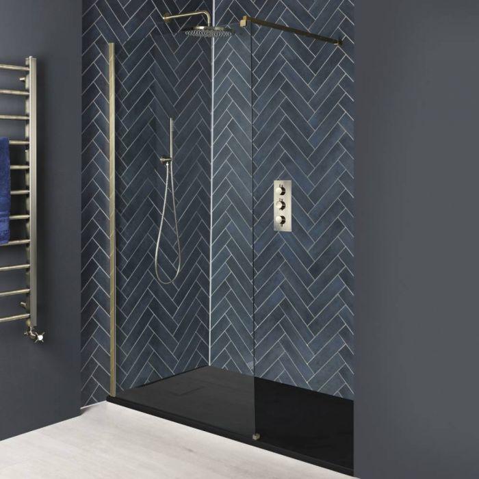 Paroi de douche italienne avec receveur à effet texturé – Tailles multiples – Or mat - Alice