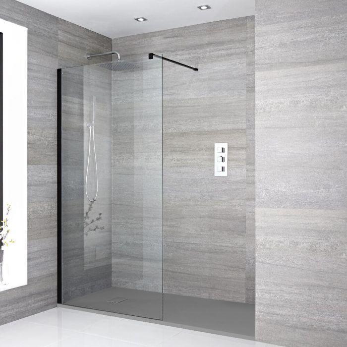 Douche italienne d'angle avec receveur de douche à effet texturé – Multiples tailles disponibles – Nox