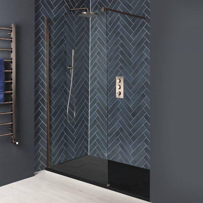 Paroi de douche italienne avec receveur à effet texturé – Tailles multiples – Cuivre mat – Vara
