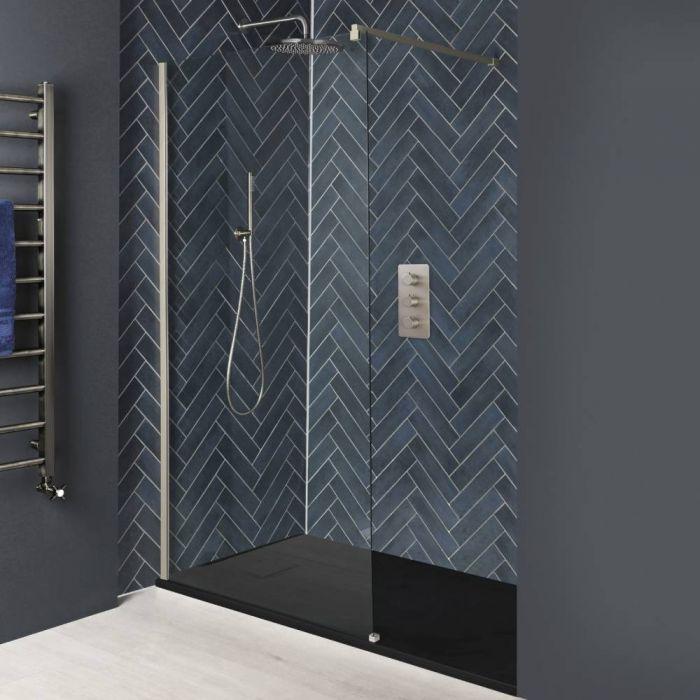 Paroi de douche italienne avec receveur à effet texturé – Tailles multiples – Nickel brossé - Harting