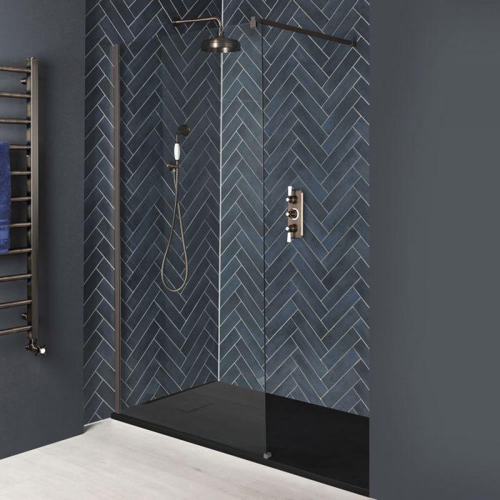 Paroi de douche italienne avec receveur à effet texturé – Tailles multiples – Bronze mat - Augusta