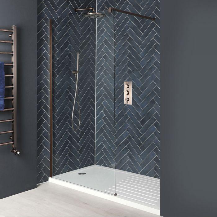 Paroi de douche italienne avec receveur – Tailles multiples – Cuivre mat – Vara