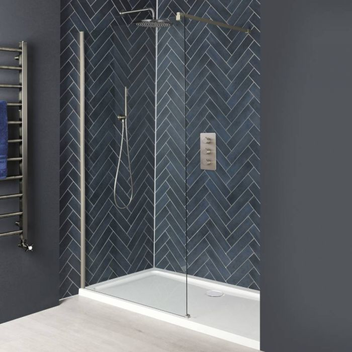 Paroi de douche italienne avec receveur – Tailles multiples – Nickel brossé - Harting