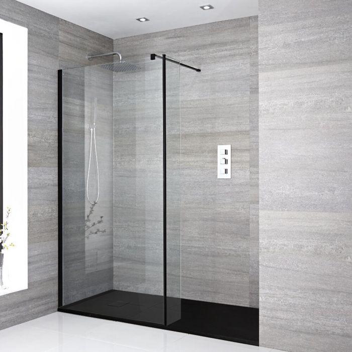Douche italienne avec receveur de douche à effet texturé et paroi de retour – Multiples tailles disponibles - Nox