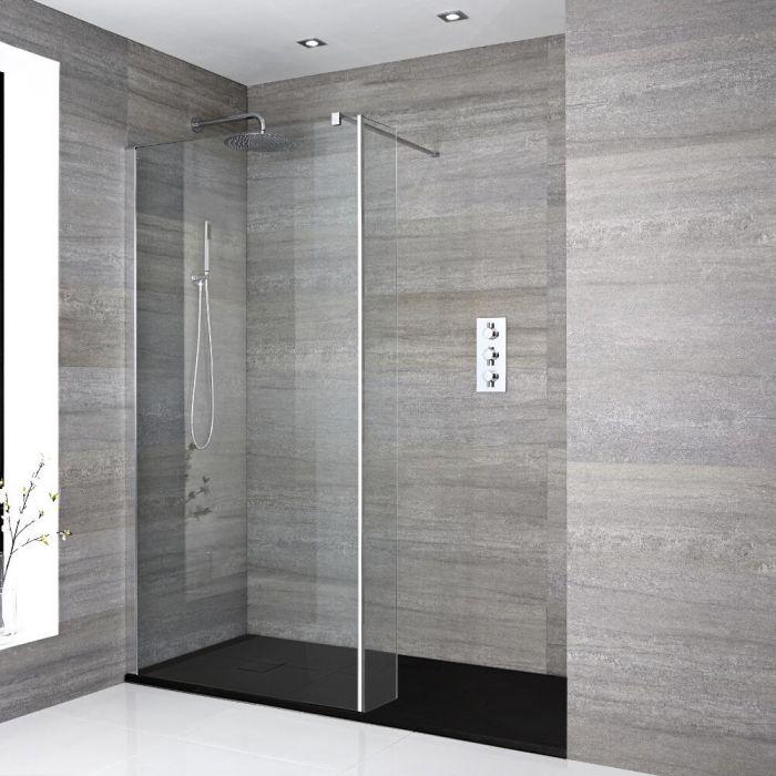 Douche italienne avec receveur de douche à effet texturé et paroi de retour – Multiples tailles disponibles - Portland