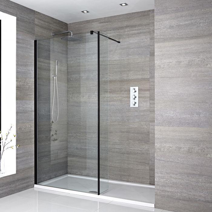 Douche italienne avec receveur de douche et paroi de retour – Multiples tailles disponibles - Nox