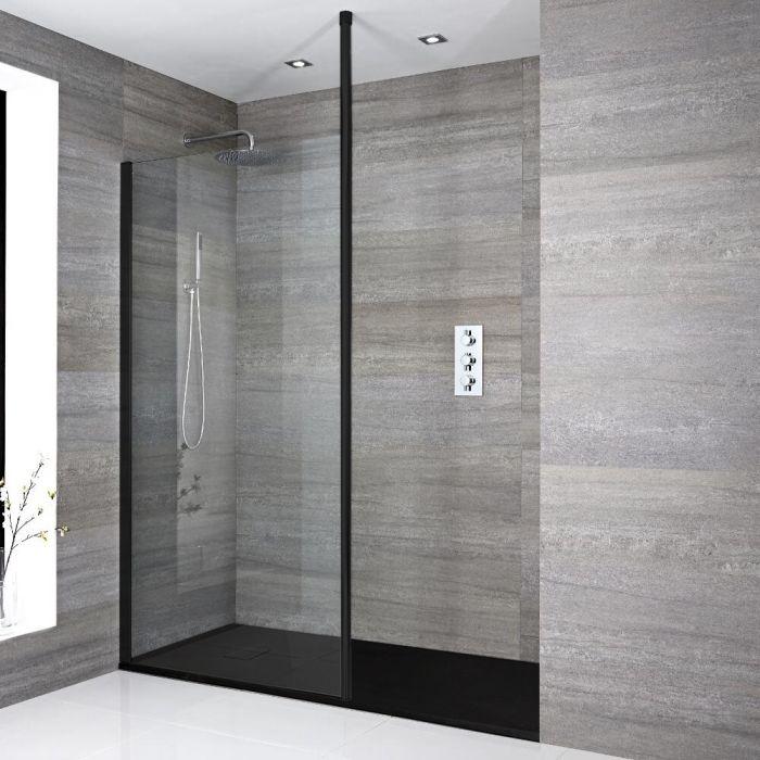 Douche italienne moderne avec receveur à effet texturé – Choix de tailles - Nox