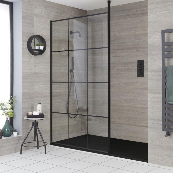 Douche italienne moderne avec verrière et receveur à effet texturé – Choix de tailles - Barq