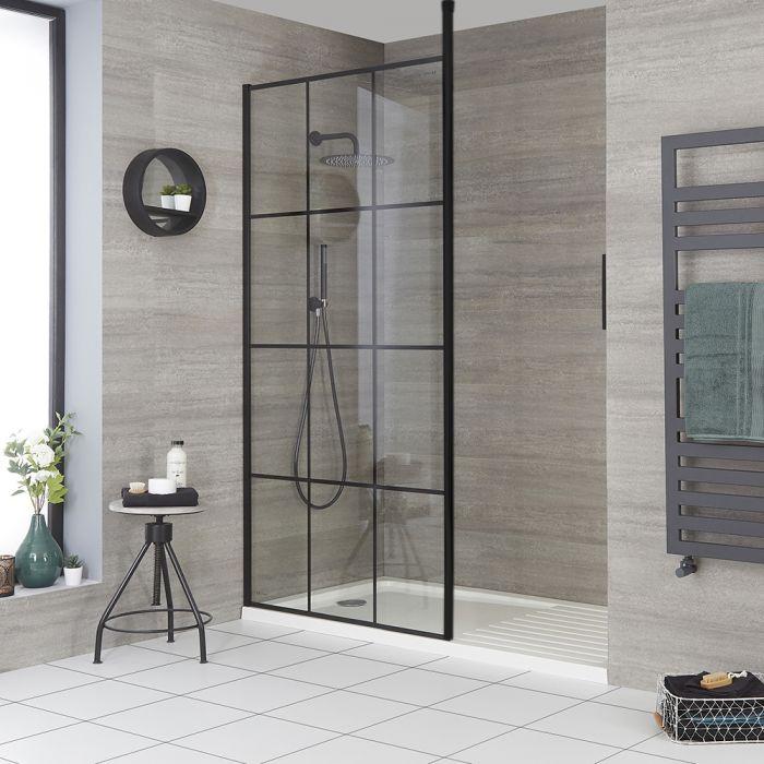 Douche italienne moderne avec verrière et receveur – Choix de tailles - Barq