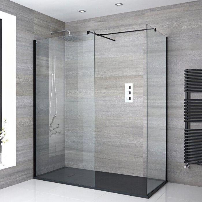 Douche italienne d'angle avec receveur de douche à effet texturé – Choix de tailles – Nox
